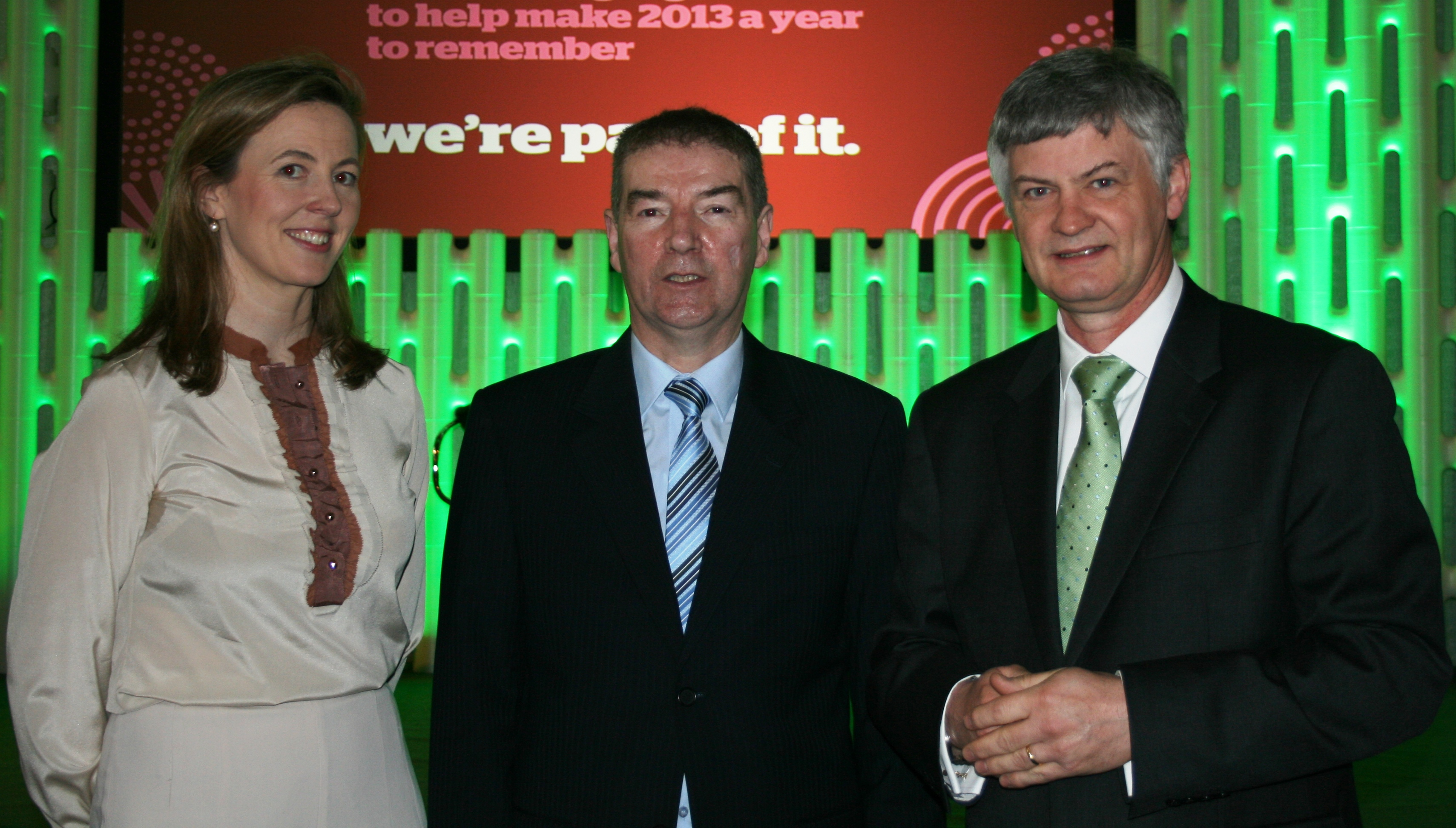 Adrian Gallagher with Shaun Quinn CEO Fáilte Ireland and Monica Mac Laverty Manager Overseas of The Gathering Launch in Dublin Castle